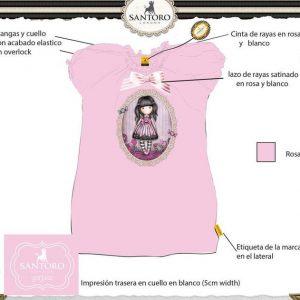 camiseta gorjuss rosa lazo